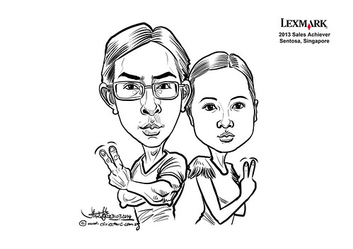digital couple caricatures for Lexmark - Jiang Li Lin