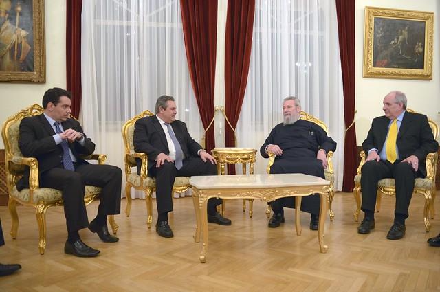 Συνάντηση ΥΕΘΑ Πάνου Καμμένου με τον Αρχιεπίσκοπο Κύπρου