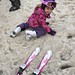 Elaine playing in the snow before her ski lesson