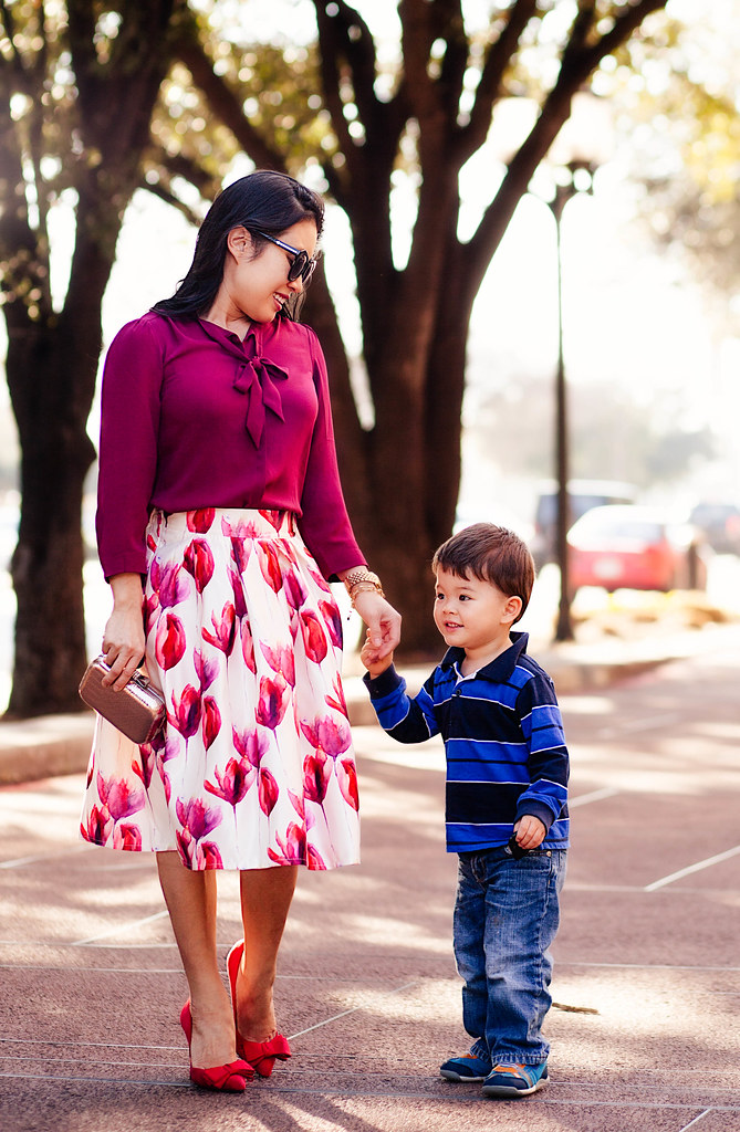 https://cuteandlittle.com | maroon bow top, choies white tulip midi skirt, justfab red frances bow pumps | valentine's day outfit
