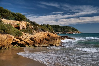 Image of Platja de la Móra Sandy beach. sea españa costa coast mar spain catalonia catalunya cataluña tarragona costadaurada