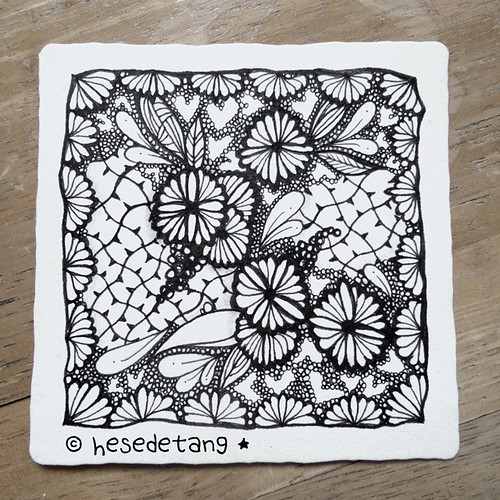 """... consider the wildflowers..."" Luke 12:25-27 MSG   #ink #zentangle #zentangles #hesedetangdoodles #tangle #tangles Am really far behind with the #zenuari #challenge"
