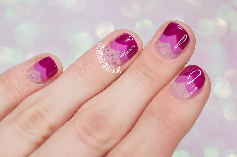 Heart fishtail gradient nails