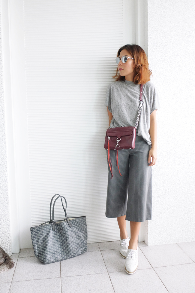gray gaucho pants outfits