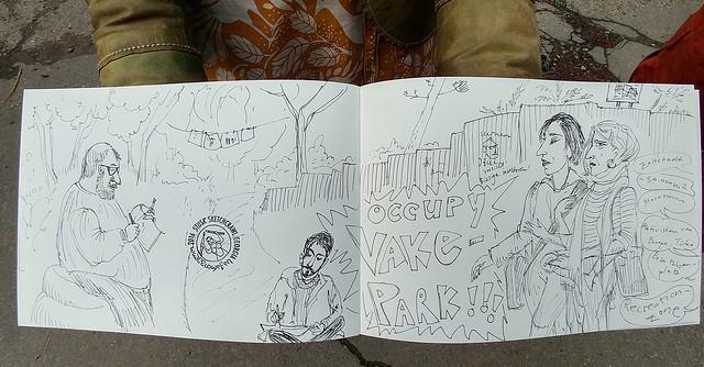 Presentation of Vake Park Movement sketched by Ulrika Bohnet.