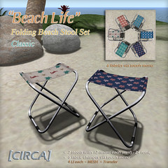 "@ Tropical Summer Fair - [CIRCA] - ""Beach Life"" - Folding Stool Set - In Classic"