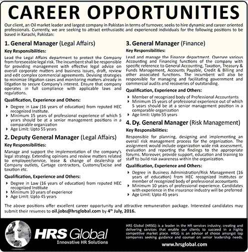 Excellent Careers in Oil and Gas Sector HRS Global