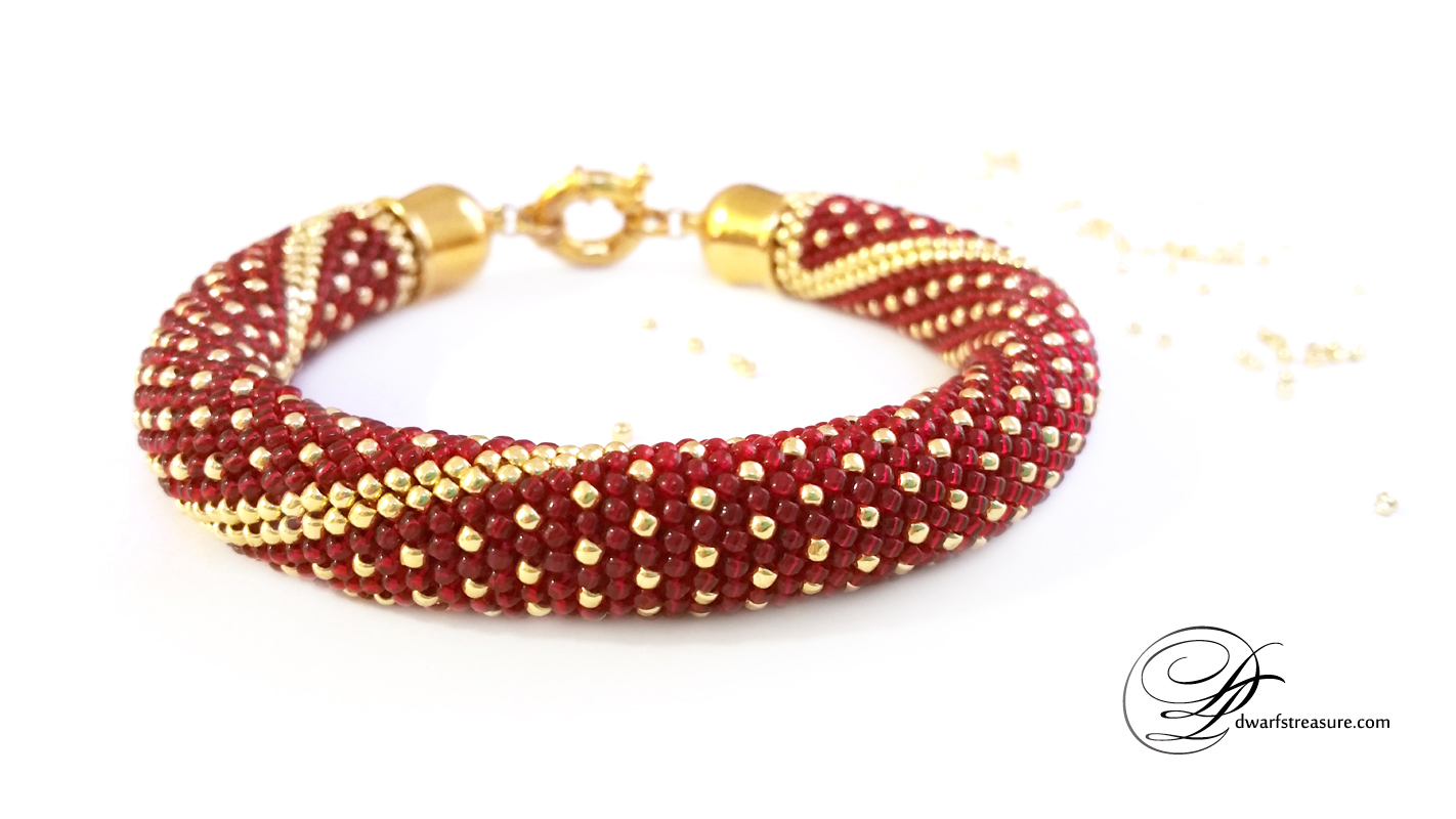 dream ruby beaded crochet bracelet
