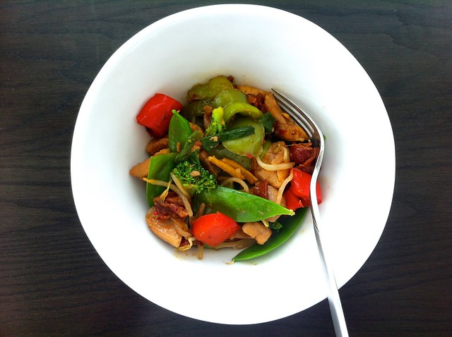 Chinese Stir Fry with Chicken and Bacon, Serving