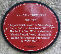 Photo of Dorothy Thompson red plaque