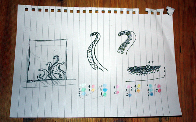 Tentacular sketches - idea development and colours