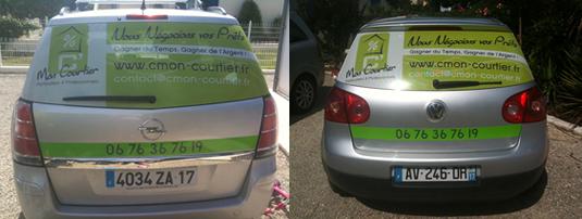 Création et pose des sticker sur les véhicules de la société C'Mon courtier.