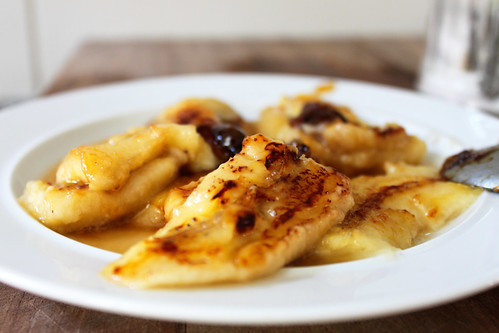 grilled and caramelised bananas