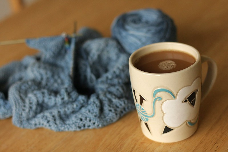 birthday mug (and multnomah shawl on the needles)