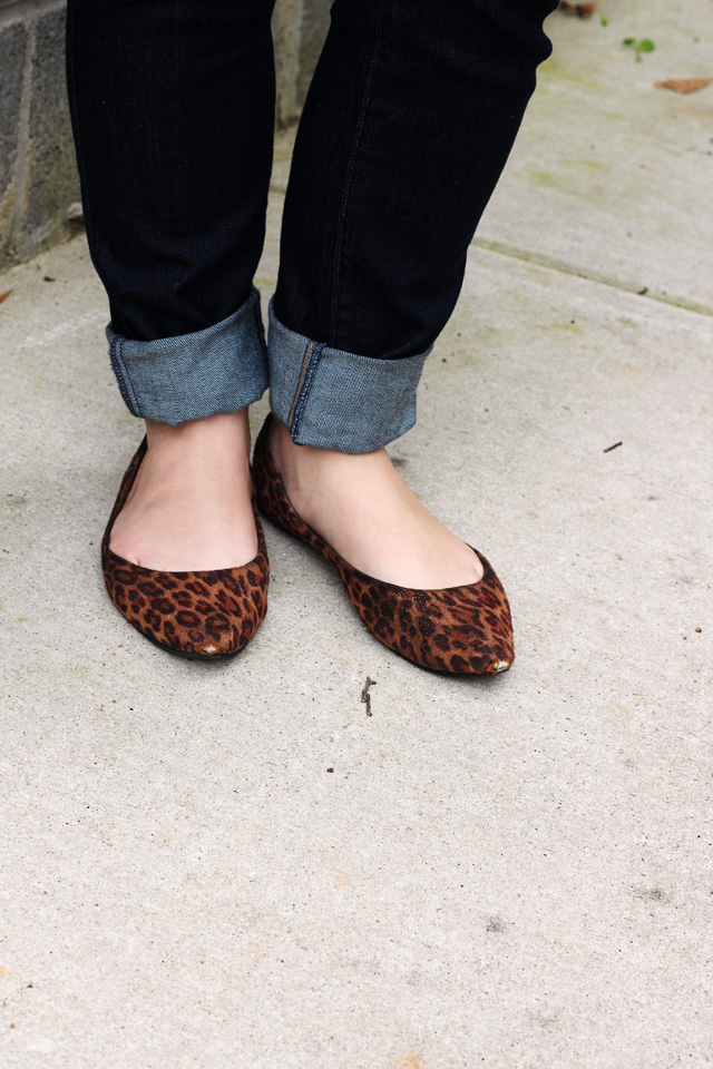 Leopard Print Flats with Cuffed Jeans