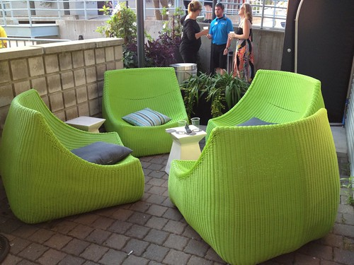 lime green wicker outdoor furniture on patio