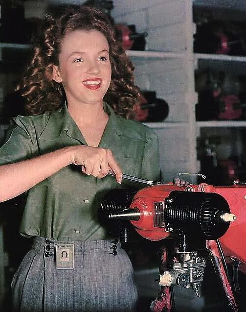 Norma Jean Baker working in a US armaments factory, 1944