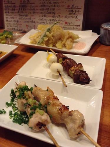 串焼きいろいろとミョウガの天ぷら