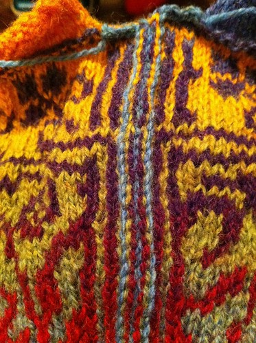 First sleeve steeks crocheted on Sirkler sleeves. by BlueDragon2