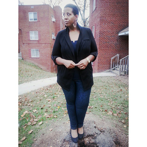 I love, love navy blue and black together #ootd #fatshion #whatiwore #plussize