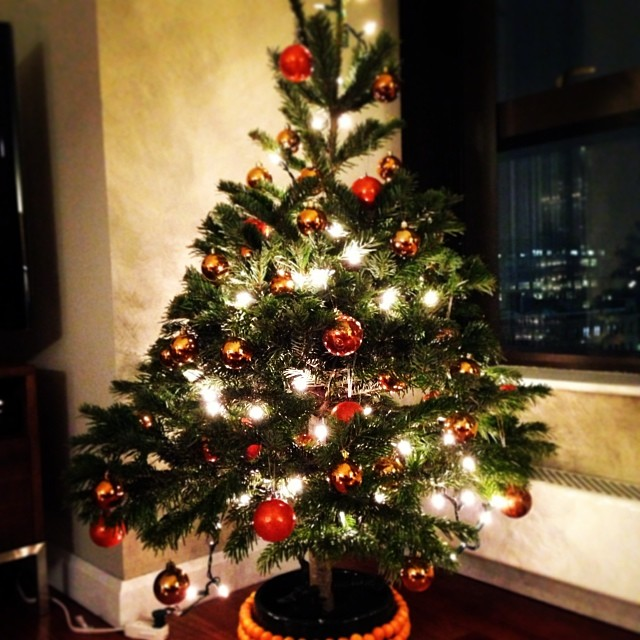 Tree trimmed in #orange #xmas