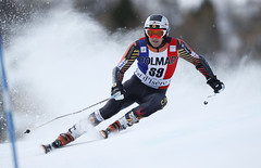 Phil Brown in action during the giant slalom in Val d'Isere, FRA