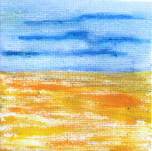 Blue Sky Golden Field (Mini-Painting as of December 13, 2013) by randubnick