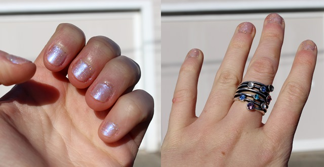 Sparkle Cream & Lavender Nail Polish, Silver Ring With Blue & Purple Jewels - Manicure Shot