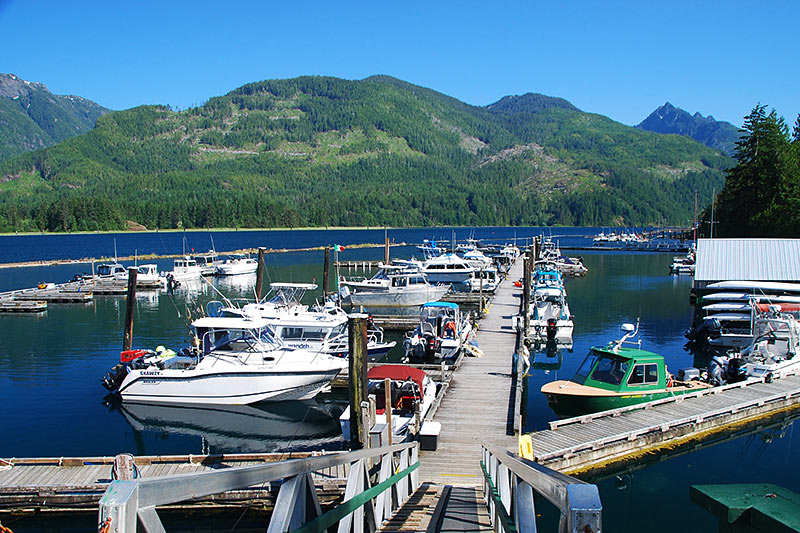 Marina in Tahsis on Tahsis Inlet, North Vancouver Island, British Columbia, Canada