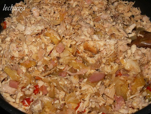 Pastel de berenjena-añadir pollo y carne