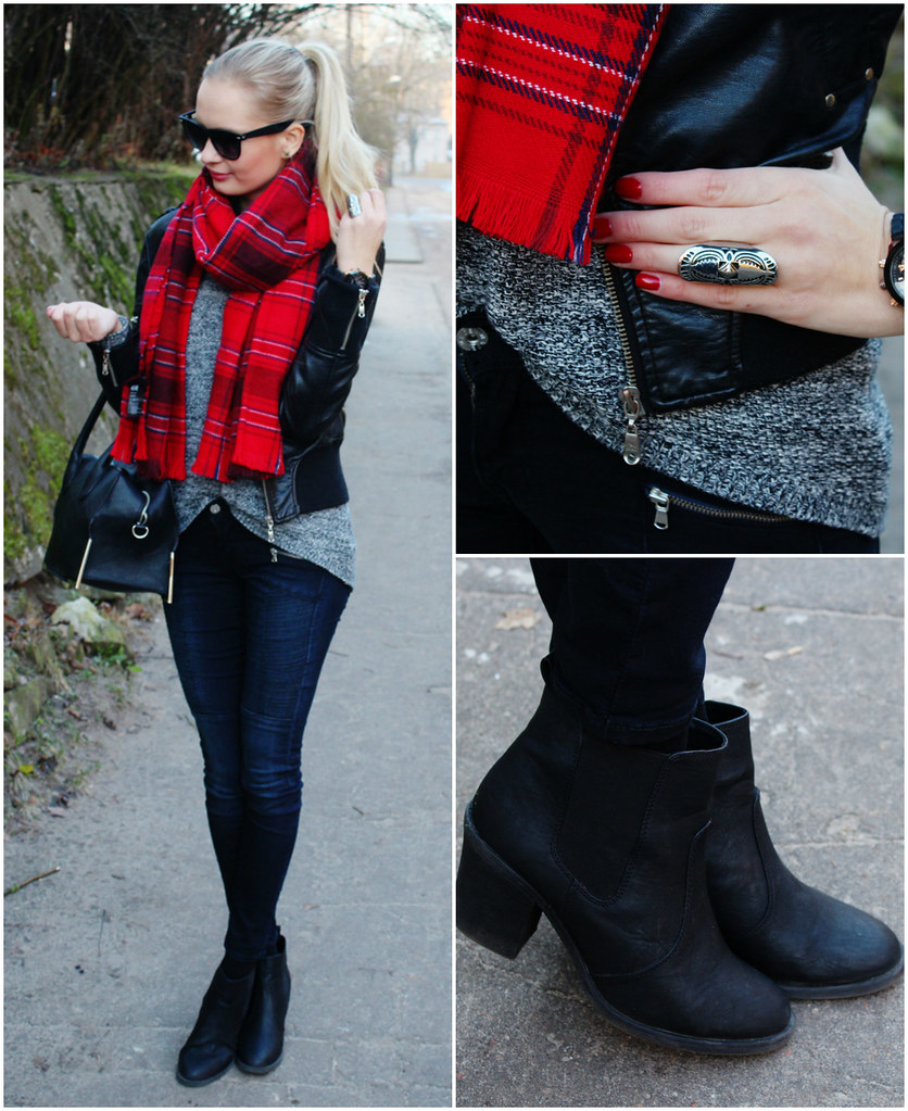 how to wear style tartan scarf, H&M ankle boots, new yorker leather jacket