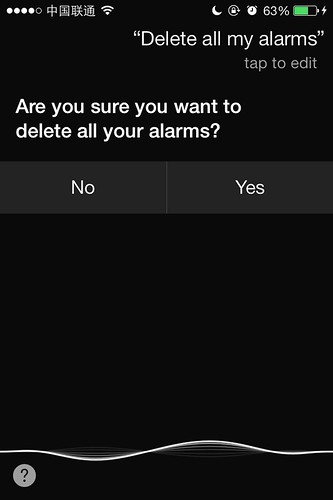 Ask Siri to delete all your alarms
