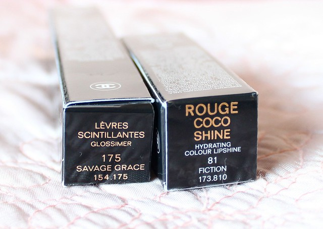 Chanel Savage Garden Glossimer and Rouge Coco Shine Fiction Lipstick Review 2