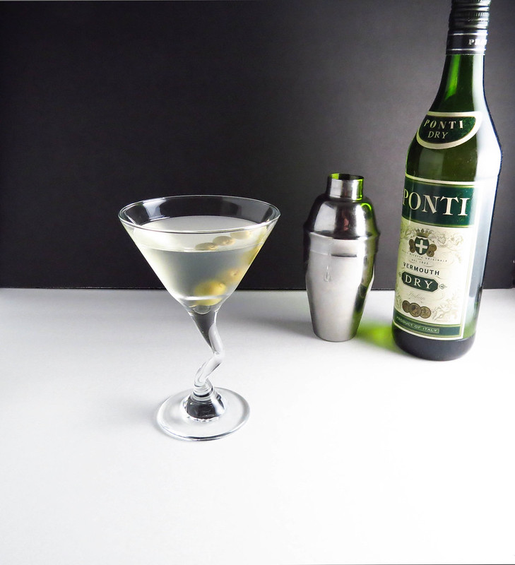 Dirty Martini with shaker and Vermouth
