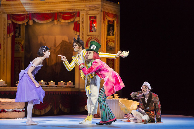 Beatriz Stix-Brunell as Alice, Ricardo Cervera as The March Hare, Alexander Campbell as The Mad Hatter and James Wilkie as The Dormouse in Alice's Adventures in Wonderland, The Royal Ballet © ROH / Johan Persson 2013