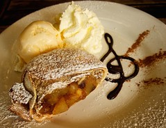 Hot German apple strudel