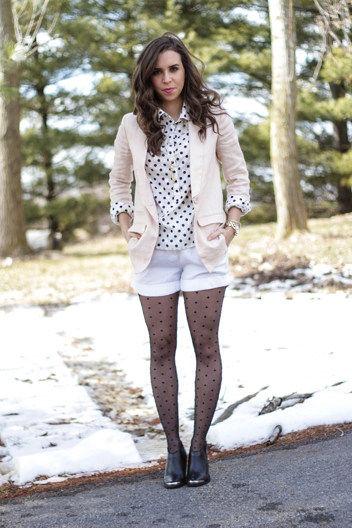 va darling. dc blogger. virginia personal style blogger. dc style.  polka dotted top. polka dotted tights. pink linen blazer. white shorts. black ankle booties. 1