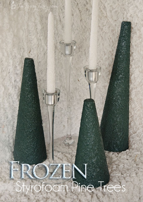 adding height and color to the Frozen birthday party table these styrofoam cones made great pine trees when you add orange peel and spray paint