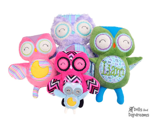 owl stuffie softie embroidery machine ITH in the hoop childrens toy pattern  copy