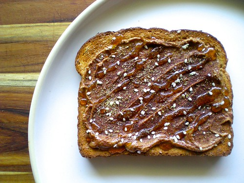 almond butter toast with cinnamon and honey