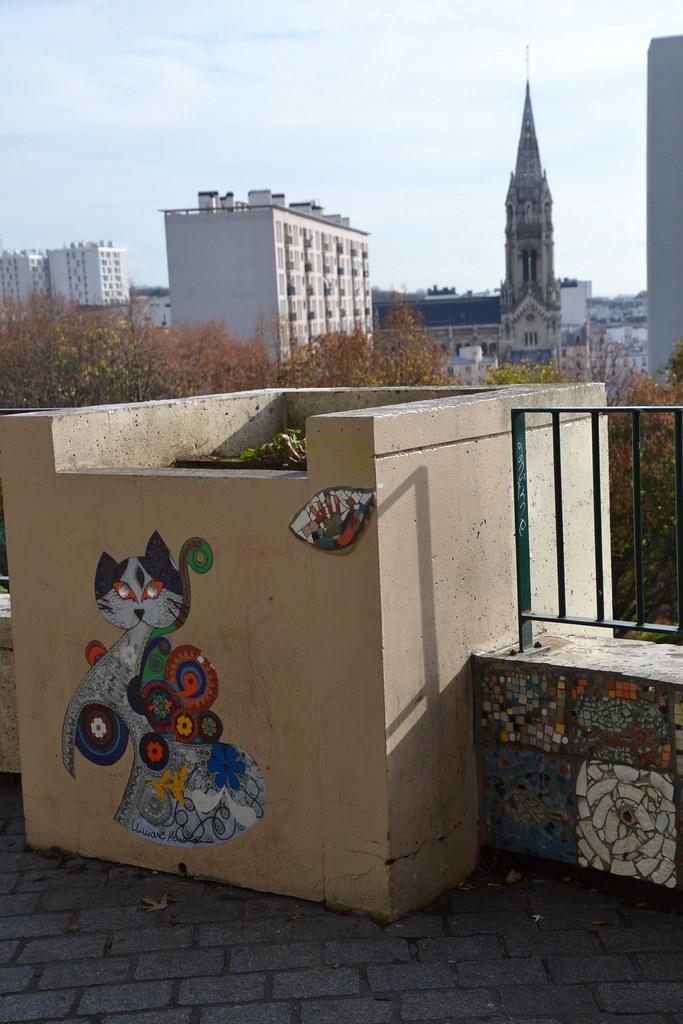 chat, Ménilmontant street art