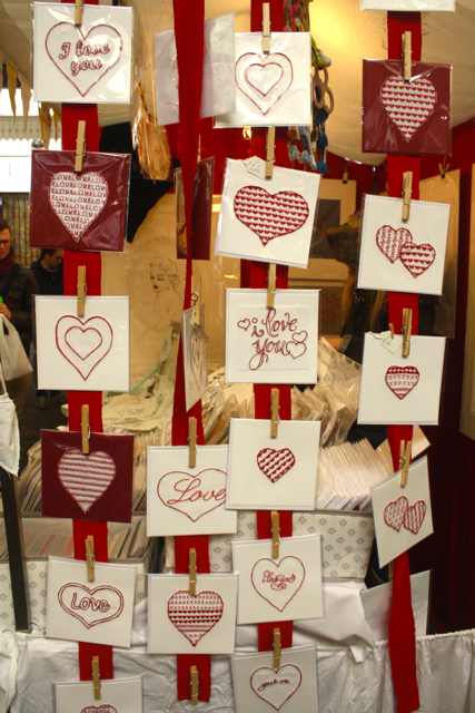 Cards for sale at the Greenwich Market, Greenwich