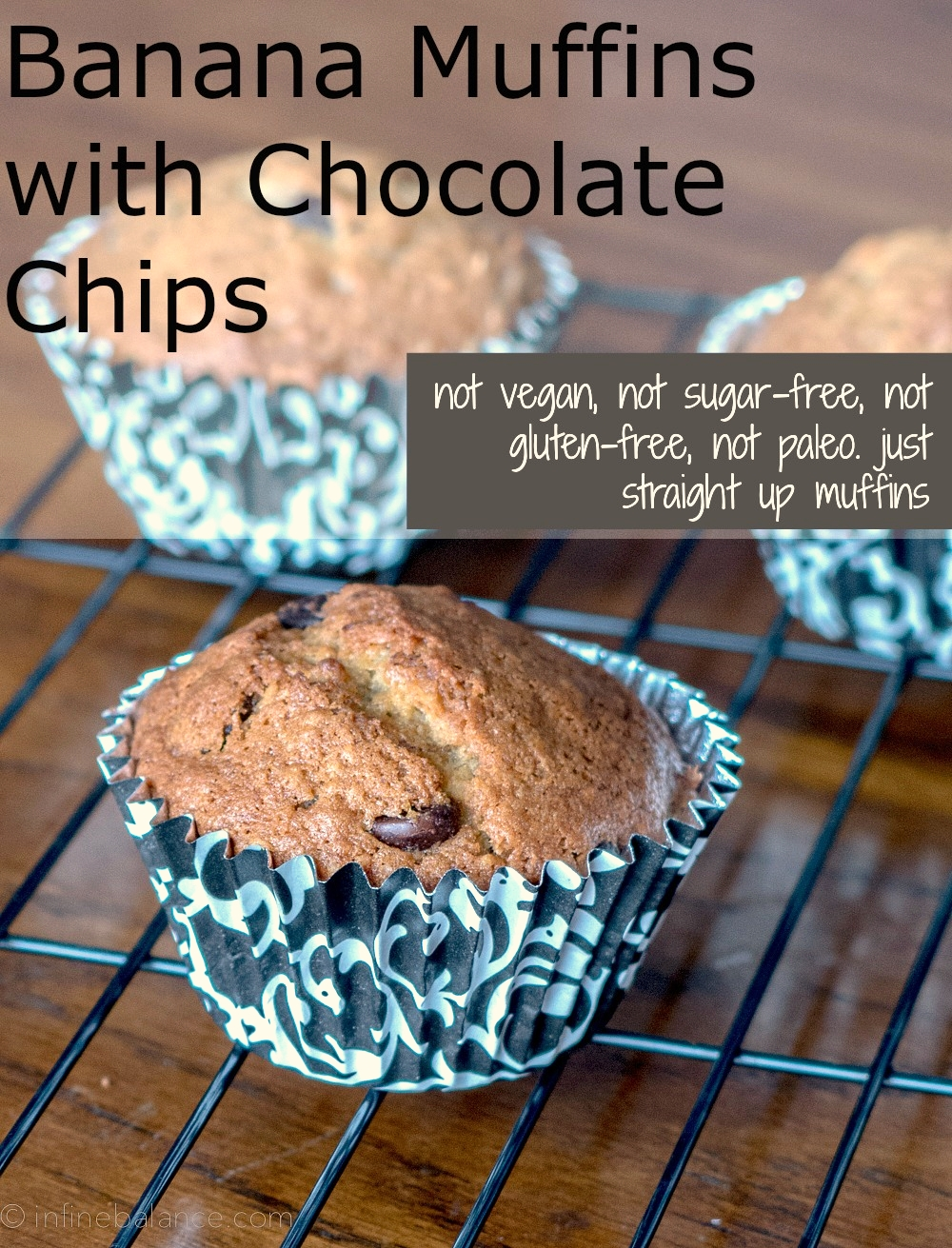 Straight Up Banana Chocolate Chip Muffins school-safe nut-free muffin chocolate chip butter banana