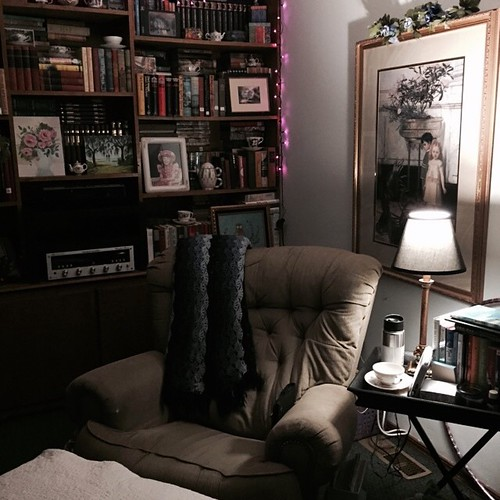My nest: This is where I read, sip tea, listen to music and meditate. #meditation #tea #library #vinyl