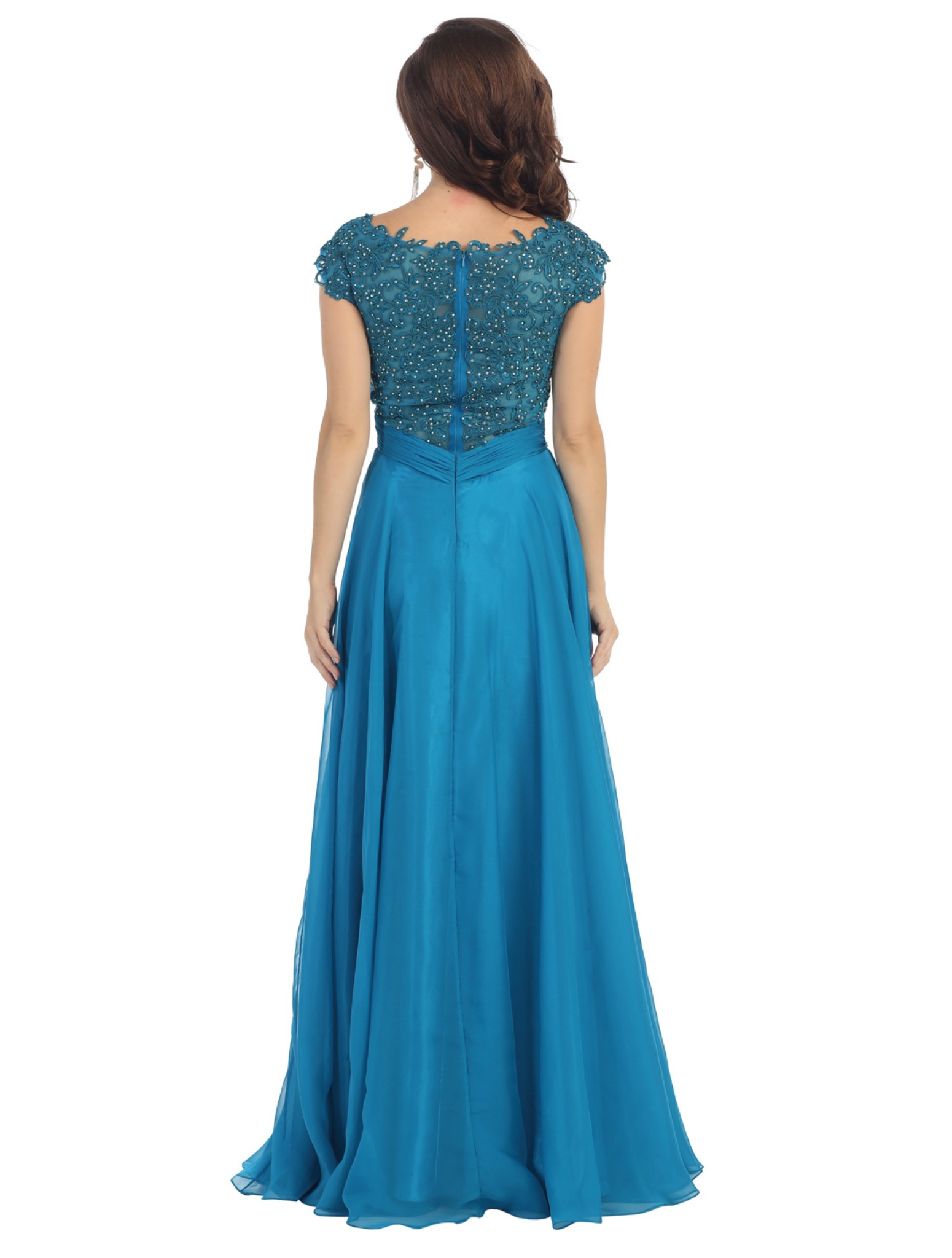Beautiful Plus Size Floor Length Cap Sleeve Lace Formal