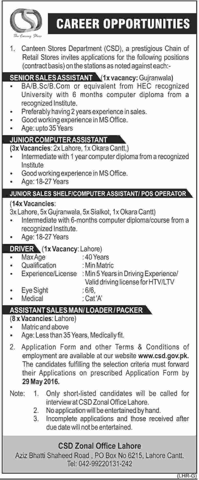 Canteen Store Department Lahore Jobs