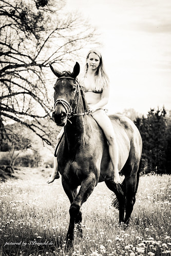 Horse-rider portrait in black and white.