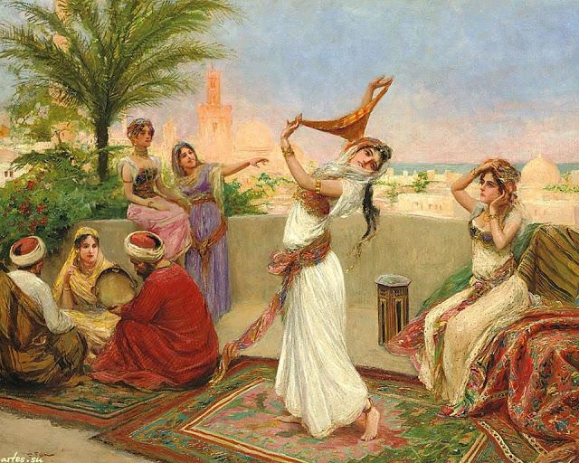 Danza en la terraza de palacio. Obra de Fabio Fabbi (1861-1946)