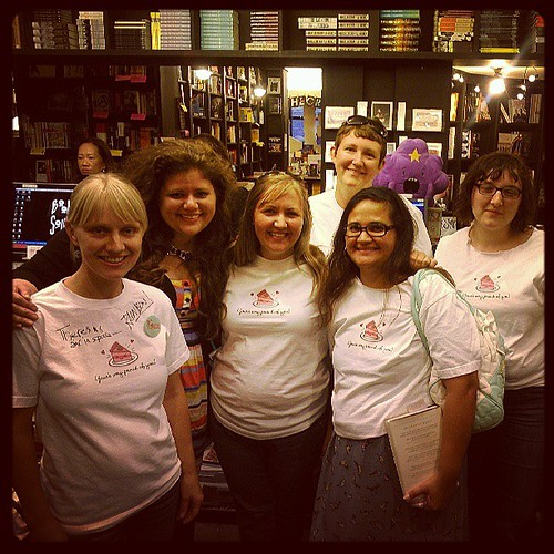 "We made t-shirts (design by @secretagentjo) to wear to Rainbow's L.A. signing! (""You're so proud of you!"") #latergram"