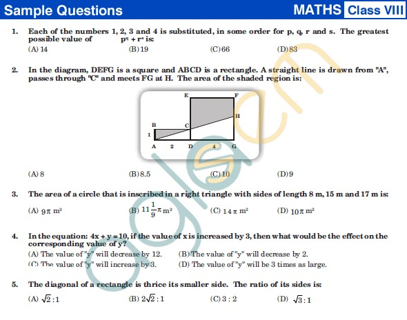 UCO 2013 Sample Papers for Class VIII - Mathematics